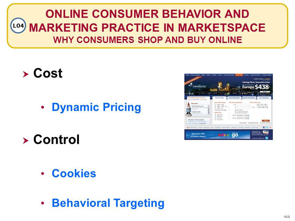ONLINE CONSUMER BEHAVIOR AND MARKETING PRACTICE IN MARKETSPACE WHY CONSUMERS SHOP AND BUY ONLINE LO4 Cost Dynamic Pricing Cookies Control Behavioral T