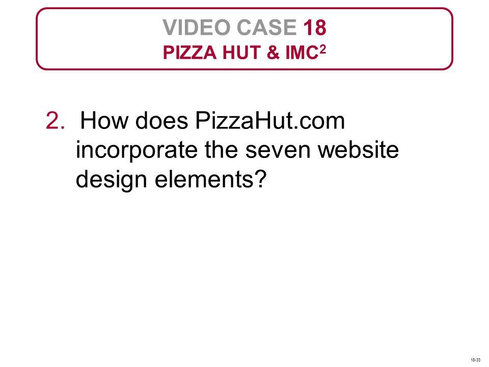 VIDEO CASE 18 PIZZA HUT & IMC 2 2. How does PizzaHut.com incorporate the seven website design elements? 18-33