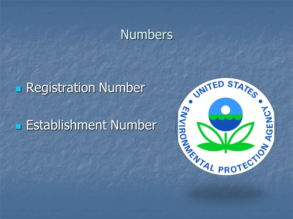 Numbers Registration Number Registration Number Establishment Number Establishment Number