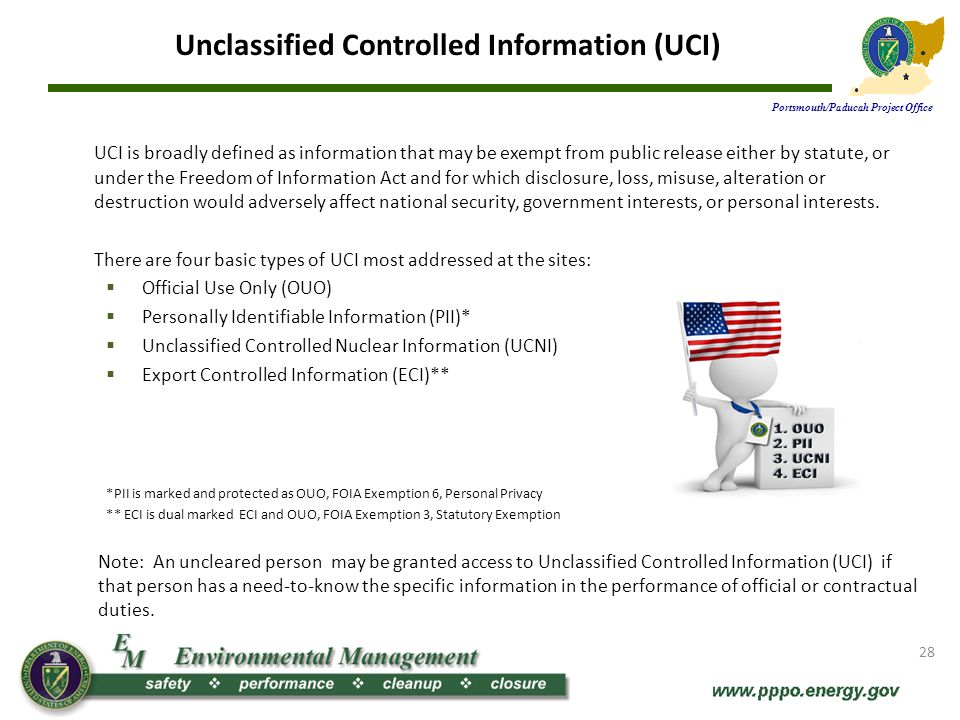 Protecting UCI Portsmouth/Paducah Project Office UCI must be protected from unauthorized disclosure.