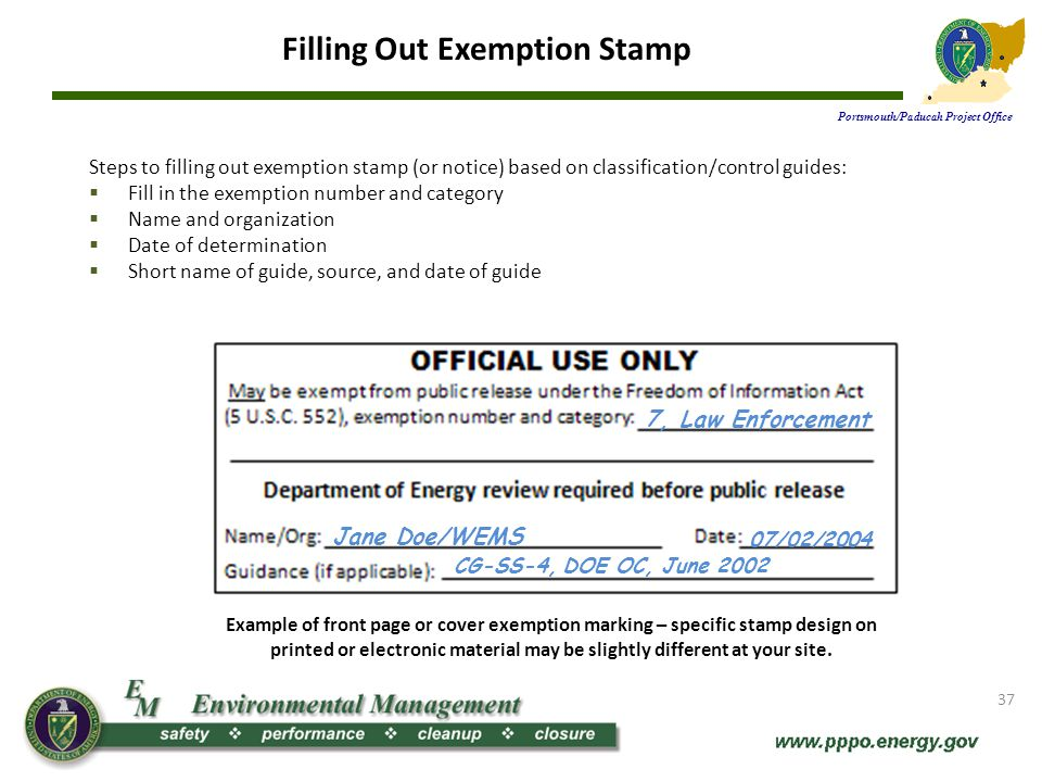 Example of front page or cover exemption marking – specific stamp design on printed or electronic material may be slightly different at your site.