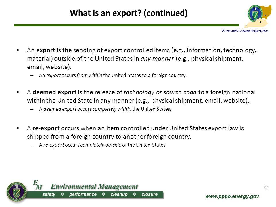Authorization to export.