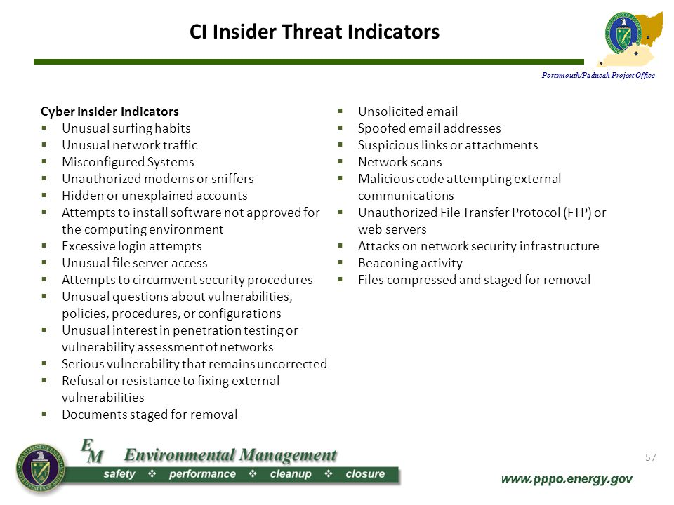 CI Insider Threat Indicators (cont.) Portsmouth/Paducah Project Office Espionage Indicators Unexplained affluence Failing to report overseas travel Unexplained travel Unexplained absences Showing unusual interest in information outside of responsibilities Unusual work hours Taking classified or sensitive material home Unreported contact with foreign government, military, or intelligence officials, Attempting to gain access without the need-to-know Excessive use of copy machines Unwillingness to take vacation Resistance to sharing duties or separation of duties Exploitable conduct Unexplained or extensive technical computer-related knowledge More information is available on the DOE Counterintelligence website or call 865-241-0233.