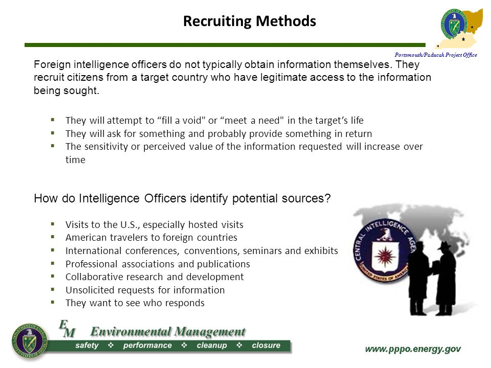 Portsmouth/Paducah Project Office Insider Threat The insider threat is identified as one or more individuals with the access and/or inside knowledge of a company, organization, or enterprise giving them opportunity to exploit the vulnerabilities of that entitys security, systems, services, products, or facilities with the intent to cause harm.