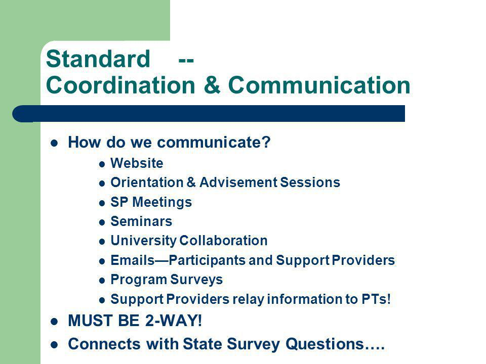 Standard -- Coordination & Communication How do we communicate? Website Orientation & Advisement Sessions SP Meetings Seminars University Collaboratio