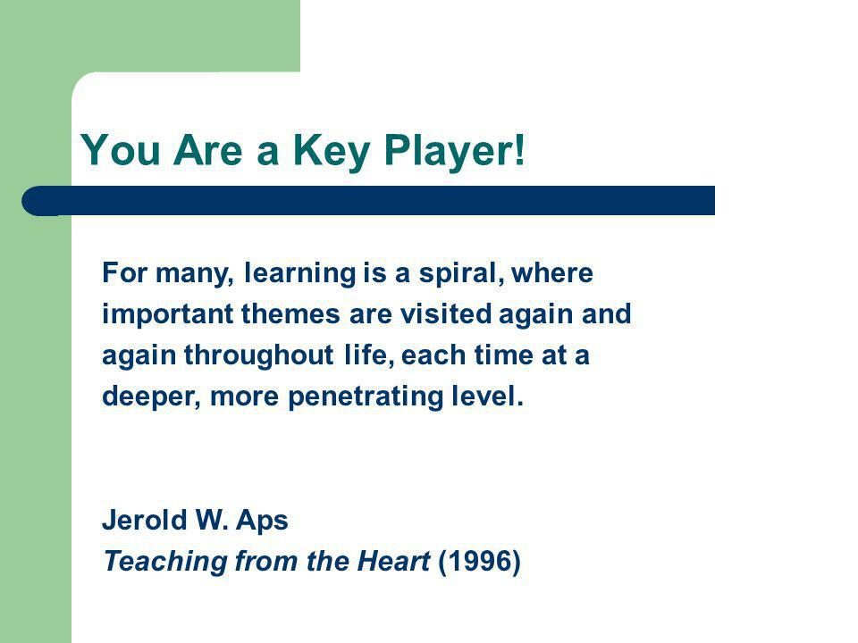 You Are a Key Player! For many, learning is a spiral, where important themes are visited again and again throughout life, each time at a deeper, more