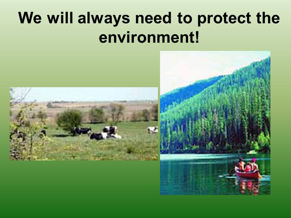 We will always need to protect the environment!