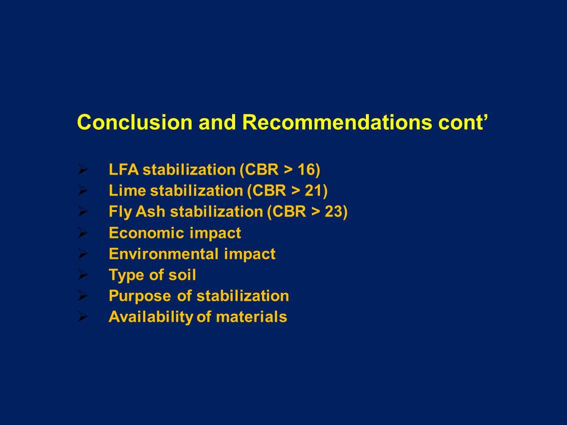 Conclusion and Recommendations cont LFA stabilization (CBR > 16) Lime stabilization (CBR > 21) Fly Ash stabilization (CBR > 23) Economic impact Enviro