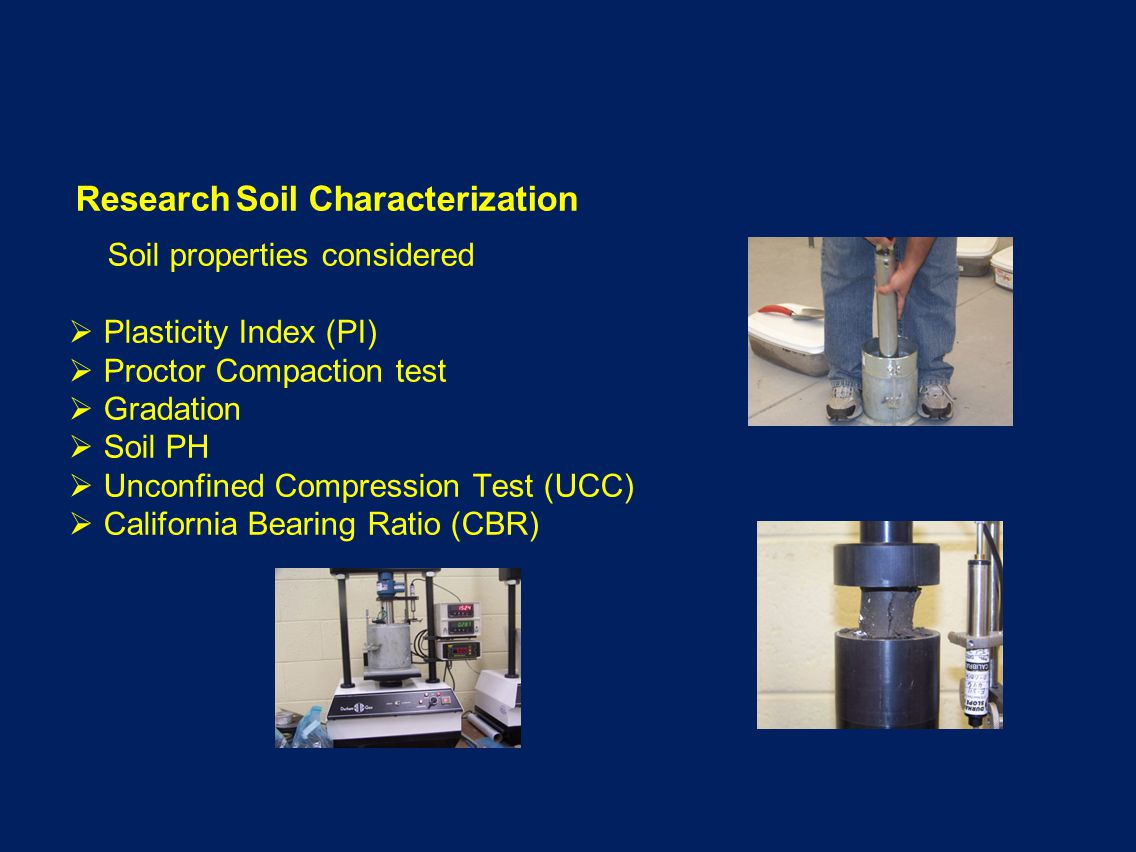 Research Soil Characterization Soil properties considered Plasticity Index (PI) Proctor Compaction test Gradation Soil PH Unconfined Compression Test