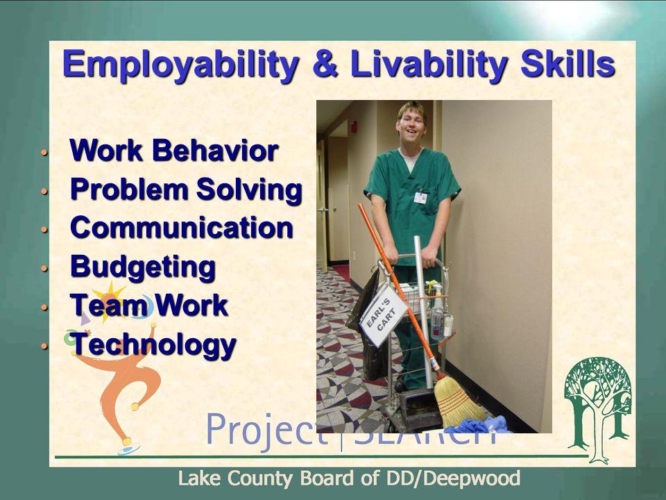 Employability & Livability Skills Work Behavior Work Behavior Problem Solving Problem Solving Communication Communication Budgeting Budgeting Team Work Team Work Technology Technology