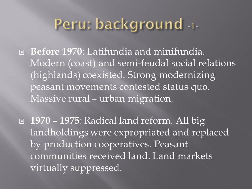 Before 1970 : Latifundia and minifundia.