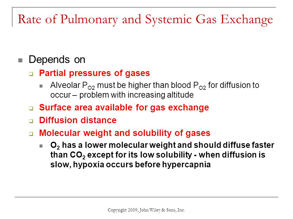 Rate of Pulmonary and Systemic Gas Exchange Depends on Partial pressures of gases Alveolar P O2 must be higher than blood P O2 for diffusion to occur