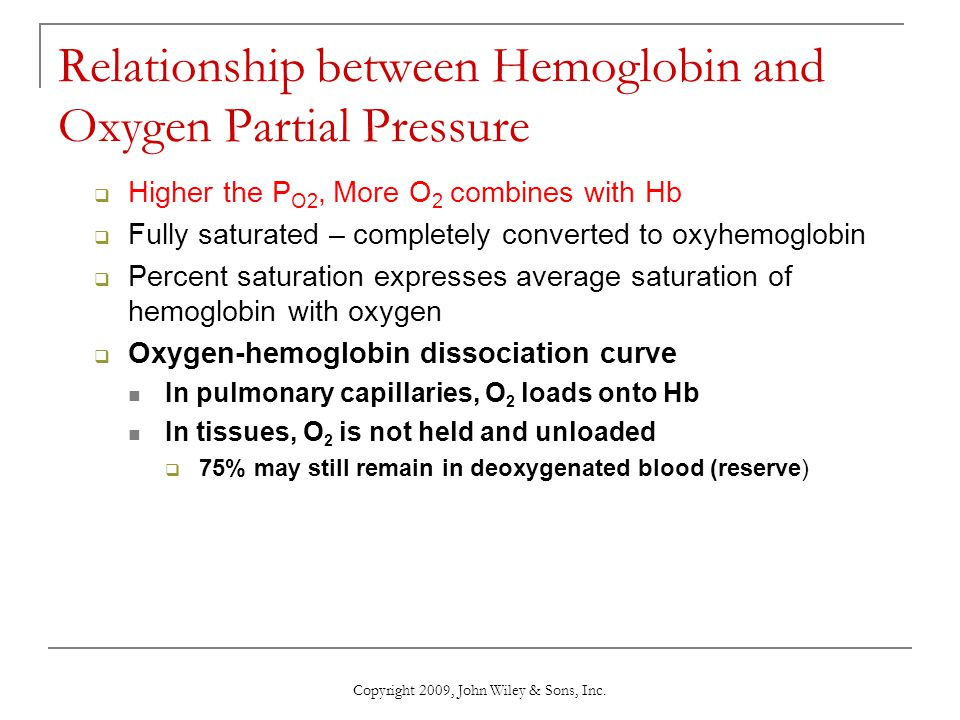 Relationship between Hemoglobin and Oxygen Partial Pressure Higher the P O2, More O 2 combines with Hb Fully saturated – completely converted to oxyhe