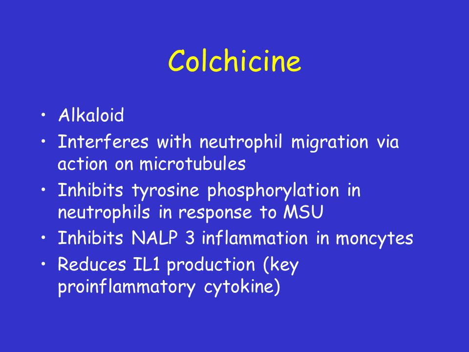 Colchicine Alkaloid Interferes with neutrophil migration via action on microtubules Inhibits tyrosine phosphorylation in neutrophils in response to MS