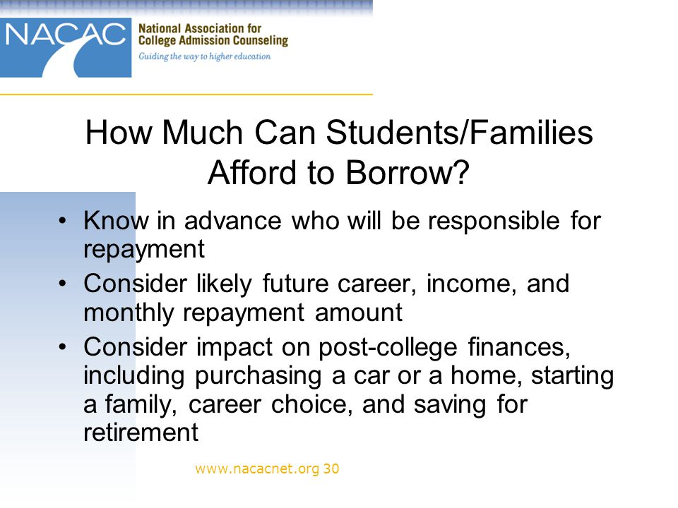 www.nacacnet.org 30 How Much Can Students/Families Afford to Borrow.