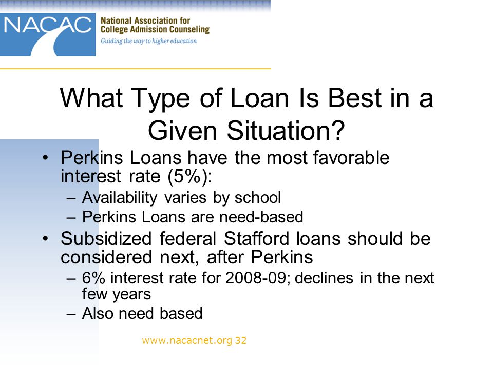 www.nacacnet.org 32 What Type of Loan Is Best in a Given Situation.