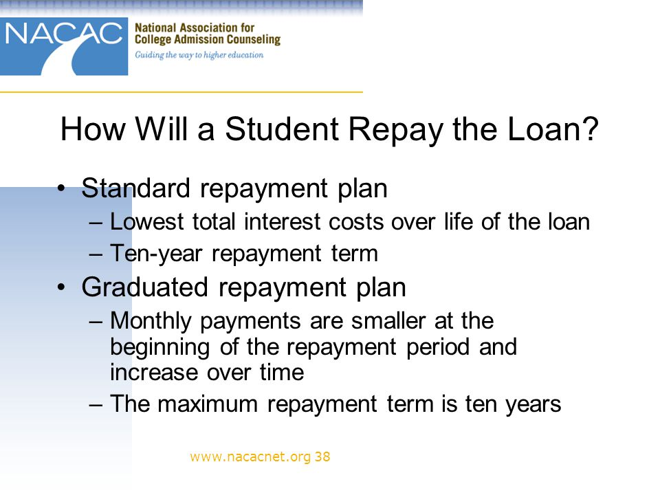 www.nacacnet.org 38 How Will a Student Repay the Loan.