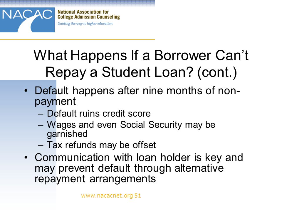 www.nacacnet.org 51 What Happens If a Borrower Cant Repay a Student Loan.
