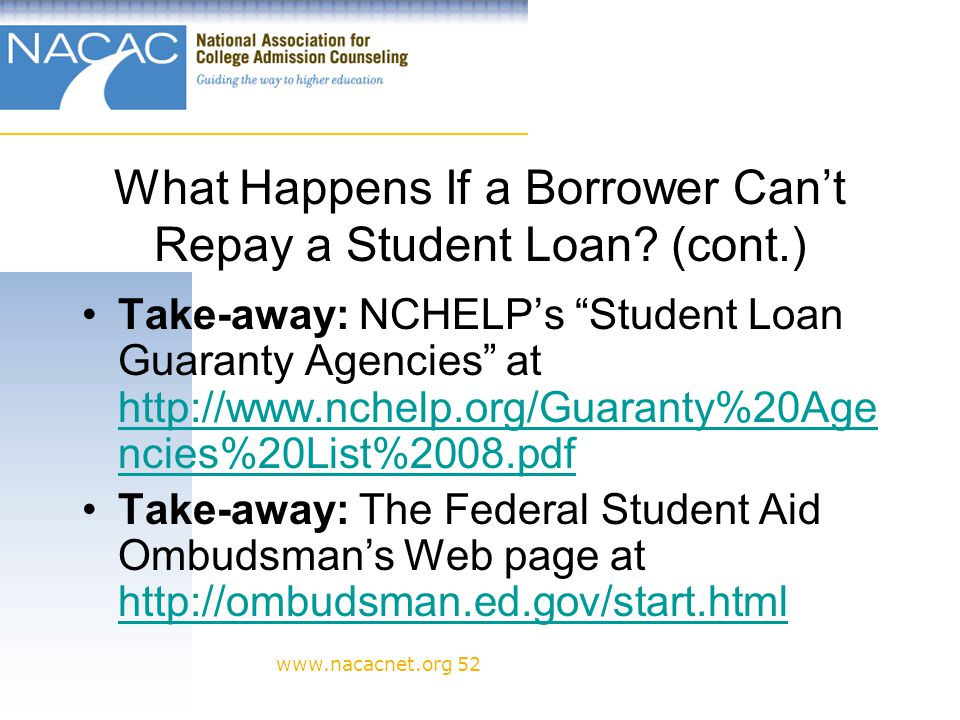 www.nacacnet.org 52 What Happens If a Borrower Cant Repay a Student Loan.