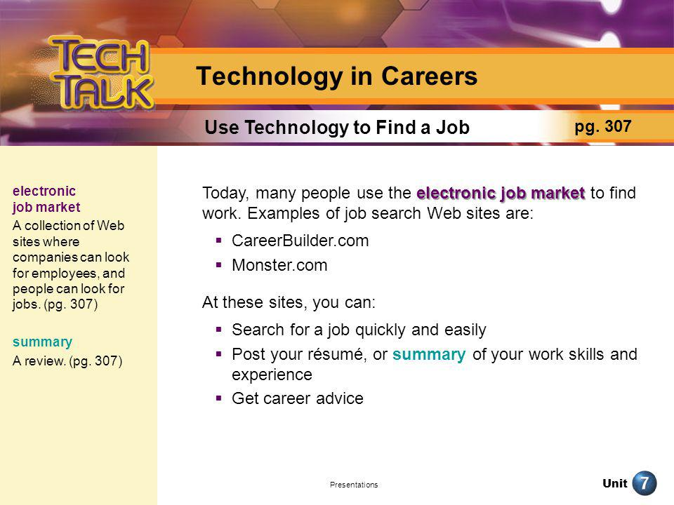 Unit Presentations Technology in Careers electronic job market Today, many people use the electronic job market to find work. Examples of job search W