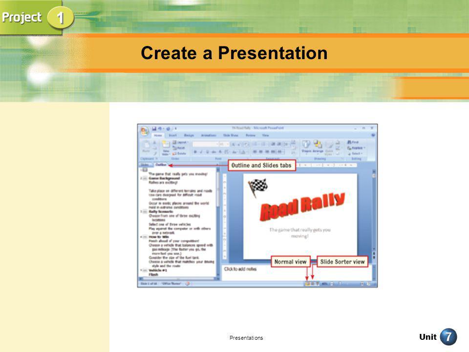 Unit Presentations Create a Presentation pg.