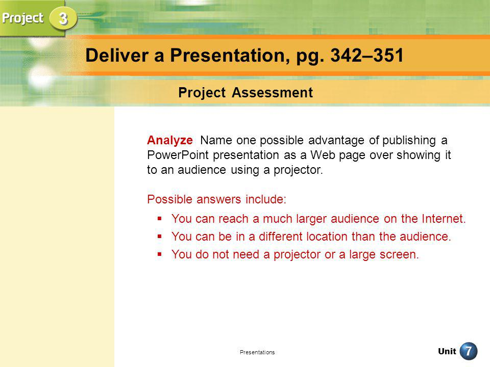 Unit Presentations Deliver a Presentation, pg. 342–351 Project Assessment Analyze Name one possible advantage of publishing a PowerPoint presentation