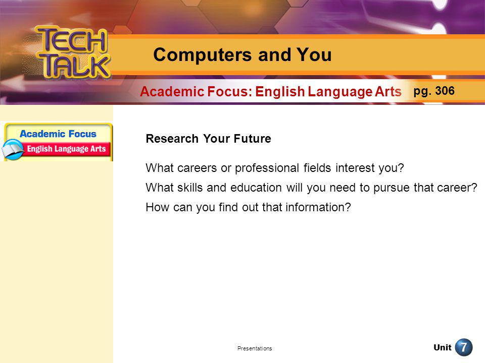 Unit Presentations Computers and You Research Your Future What careers or professional fields interest you? What skills and education will you need to