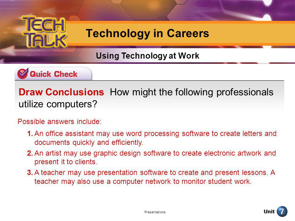 Unit Presentations Draw Conclusions How might the following professionals utilize computers? Using Technology at Work Technology in Careers Possible a