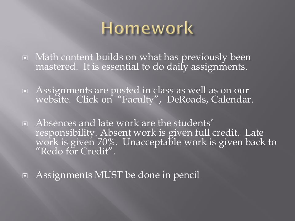 Math content builds on what has previously been mastered.