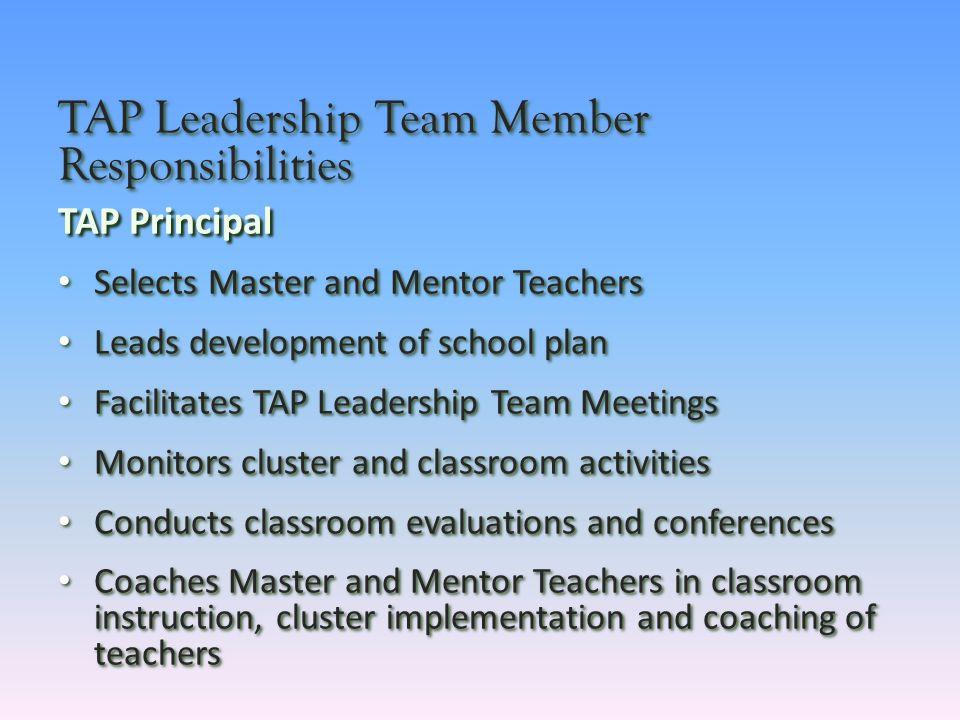 TAP Leadership Team Member Responsibilities TAP Principal Selects Master and Mentor Teachers Selects Master and Mentor Teachers Leads development of s