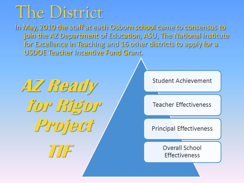 The District AZ Ready for Rigor Project TIF Student AchievementTeacher EffectivenessPrincipal Effectiveness Overall School Effectiveness In May, 2010 the staff at each Osborn school came to consensus to join the AZ Department of Education, ASU, The National Institute for Excellence in Teaching and 16 other districts to apply for a USDOE Teacher Incentive Fund Grant.