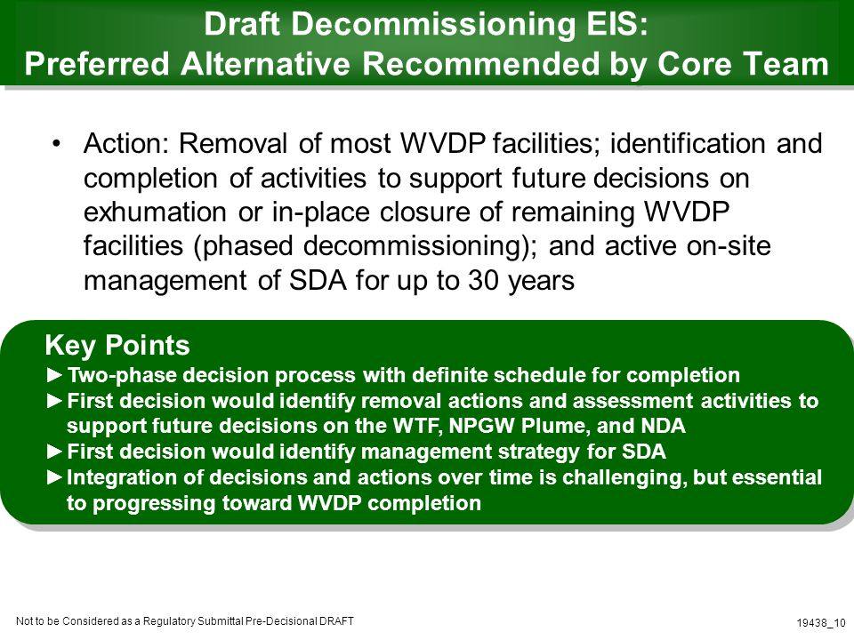 Not to be Considered as a Regulatory Submittal Pre-Decisional DRAFT 19438_10 Draft Decommissioning EIS: Preferred Alternative Recommended by Core Team Action: Removal of most WVDP facilities; identification and completion of activities to support future decisions on exhumation or in-place closure of remaining WVDP facilities (phased decommissioning); and active on-site management of SDA for up to 30 years Key Points Two-phase decision process with definite schedule for completion First decision would identify removal actions and assessment activities to support future decisions on the WTF, NPGW Plume, and NDA First decision would identify management strategy for SDA Integration of decisions and actions over time is challenging, but essential to progressing toward WVDP completion
