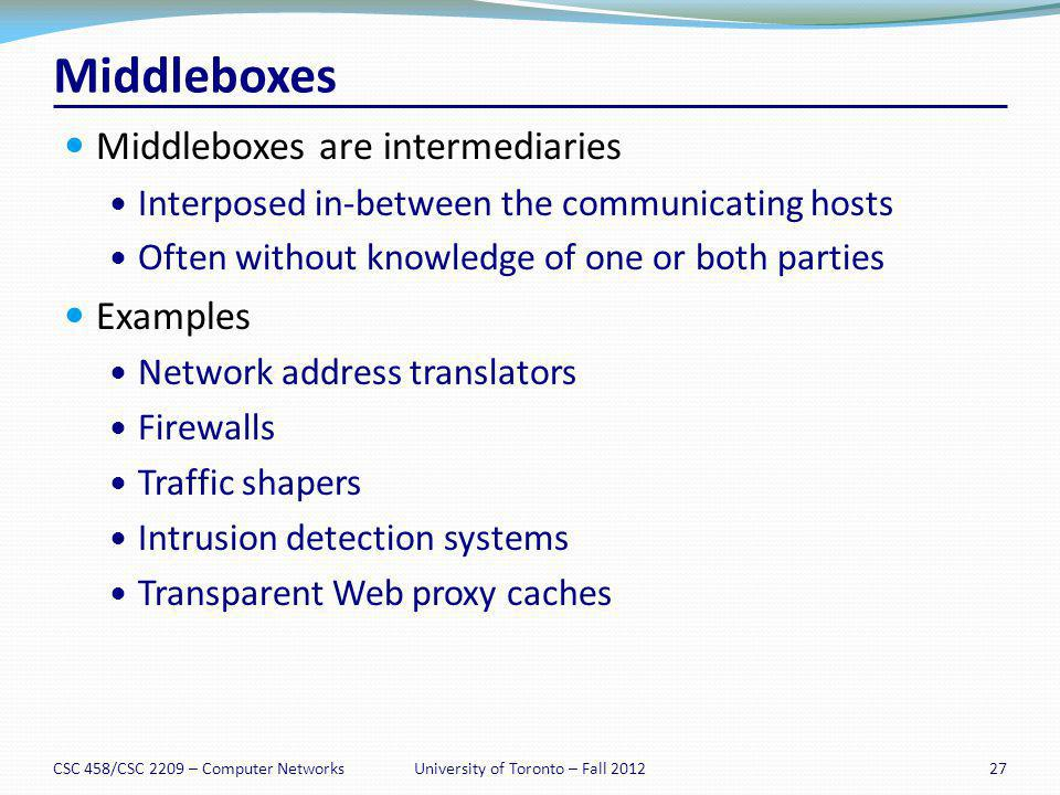 Middleboxes Middleboxes are intermediaries Interposed in-between the communicating hosts Often without knowledge of one or both parties Examples Netwo