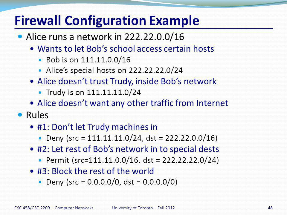 Firewall Configuration Example Alice runs a network in 222.22.0.0/16 Wants to let Bobs school access certain hosts Bob is on 111.11.0.0/16 Alices spec
