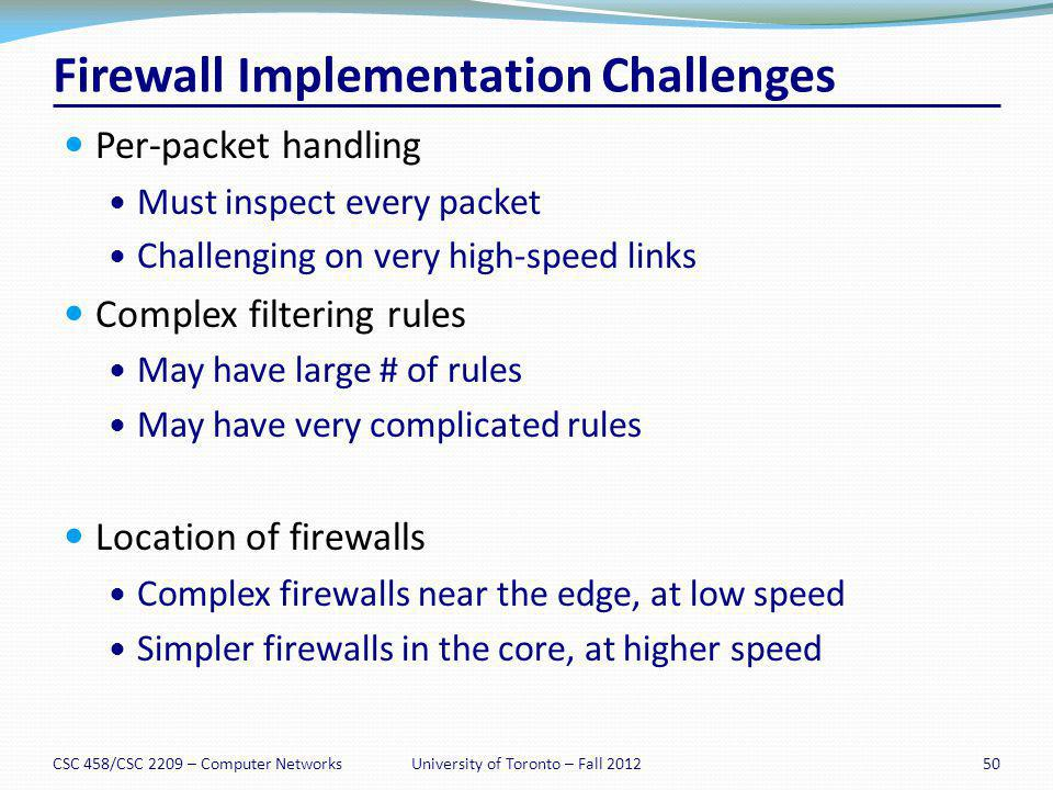 Firewall Implementation Challenges Per-packet handling Must inspect every packet Challenging on very high-speed links Complex filtering rules May have