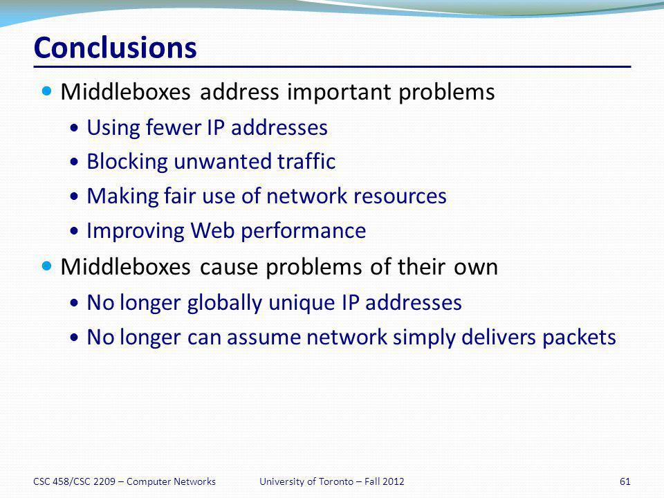 Conclusions Middleboxes address important problems Using fewer IP addresses Blocking unwanted traffic Making fair use of network resources Improving W