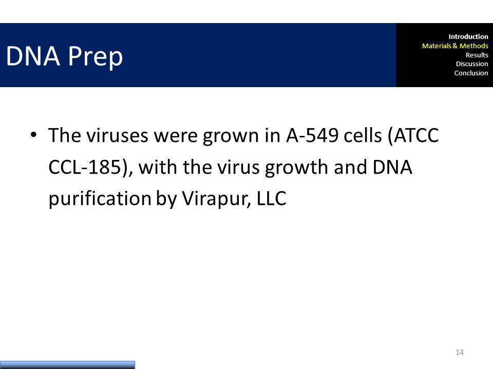 The viruses were grown in A-549 cells (ATCC CCL-185), with the virus growth and DNA purification by Virapur, LLC DNA Prep Introduction Materials & Methods Results Discussion Conclusion 14