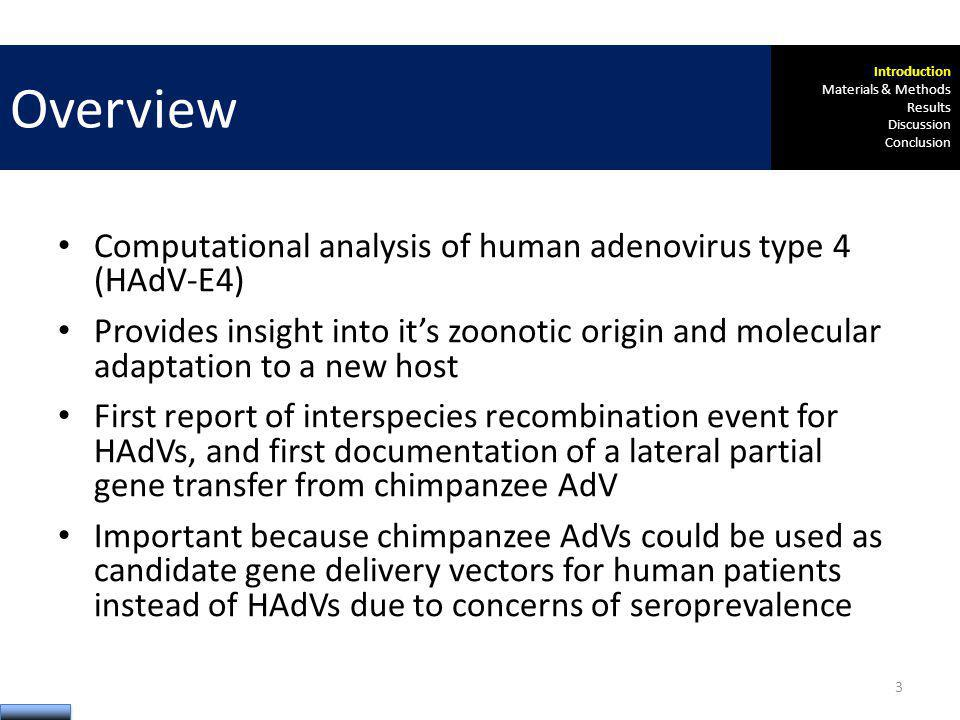 Computational analysis of human adenovirus type 4 (HAdV-E4) Provides insight into its zoonotic origin and molecular adaptation to a new host First rep
