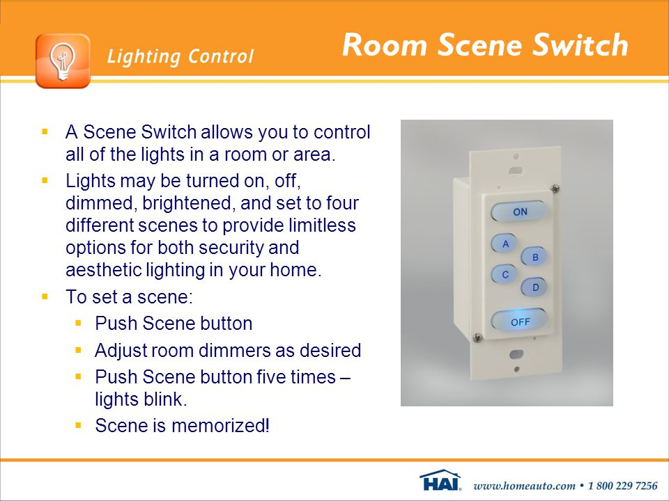 Room Scene Switch A Scene Switch allows you to control all of the lights in a room or area. Lights may be turned on, off, dimmed, brightened, and set