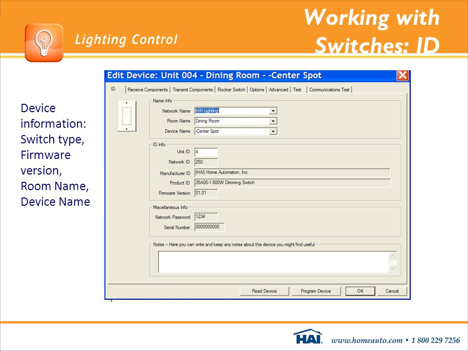 Working with Switches: ID Device information: Switch type, Firmware version, Room Name, Device Name