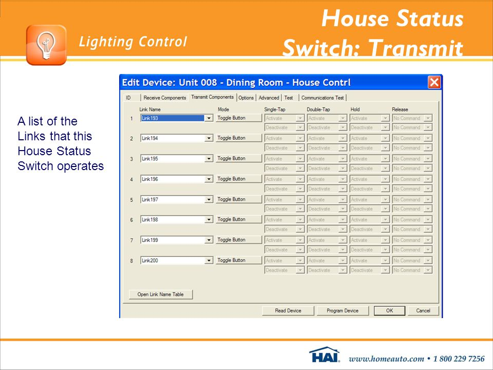 House Status Switch: Transmit A list of the Links that this House Status Switch operates