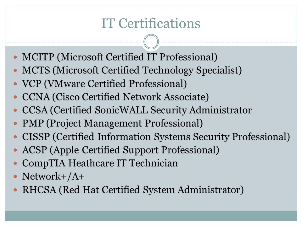IT Certifications MCITP (Microsoft Certified IT Professional) MCTS (Microsoft Certified Technology Specialist) VCP (VMware Certified Professional) CCN