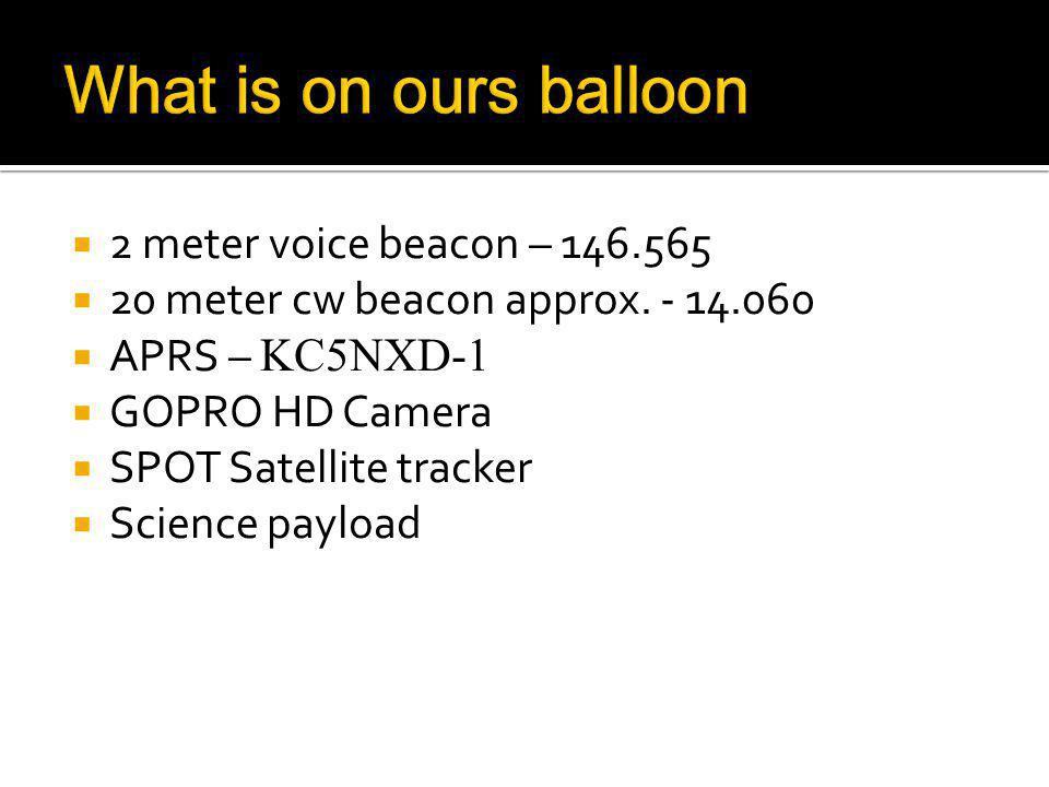 2 meter voice beacon – 146.565 20 meter cw beacon approx.