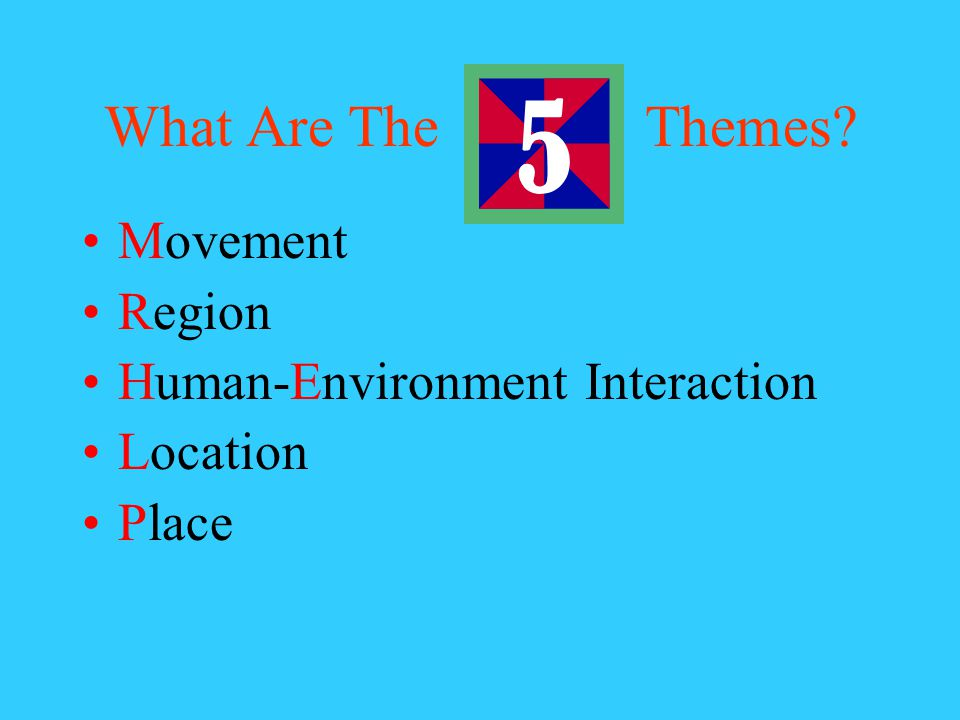 The Five Themes: Helping Geographers Look at the World