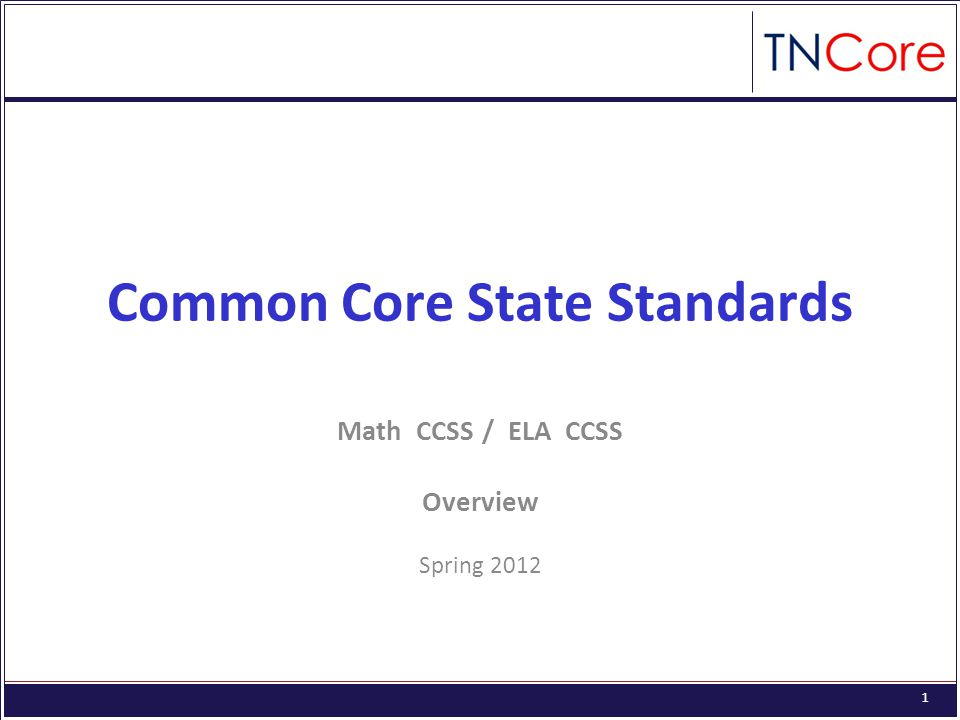 1 Common Core State Standards Math CCSS / ELA CCSS Overview Spring 2012
