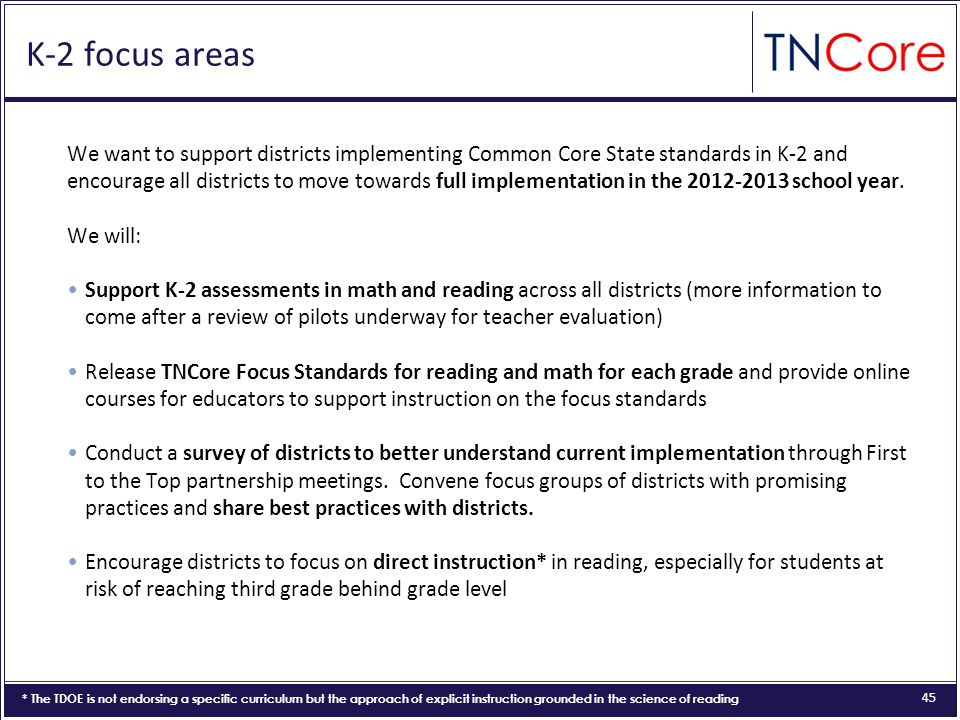 45 K-2 focus areas We want to support districts implementing Common Core State standards in K-2 and encourage all districts to move towards full implementation in the 2012-2013 school year.