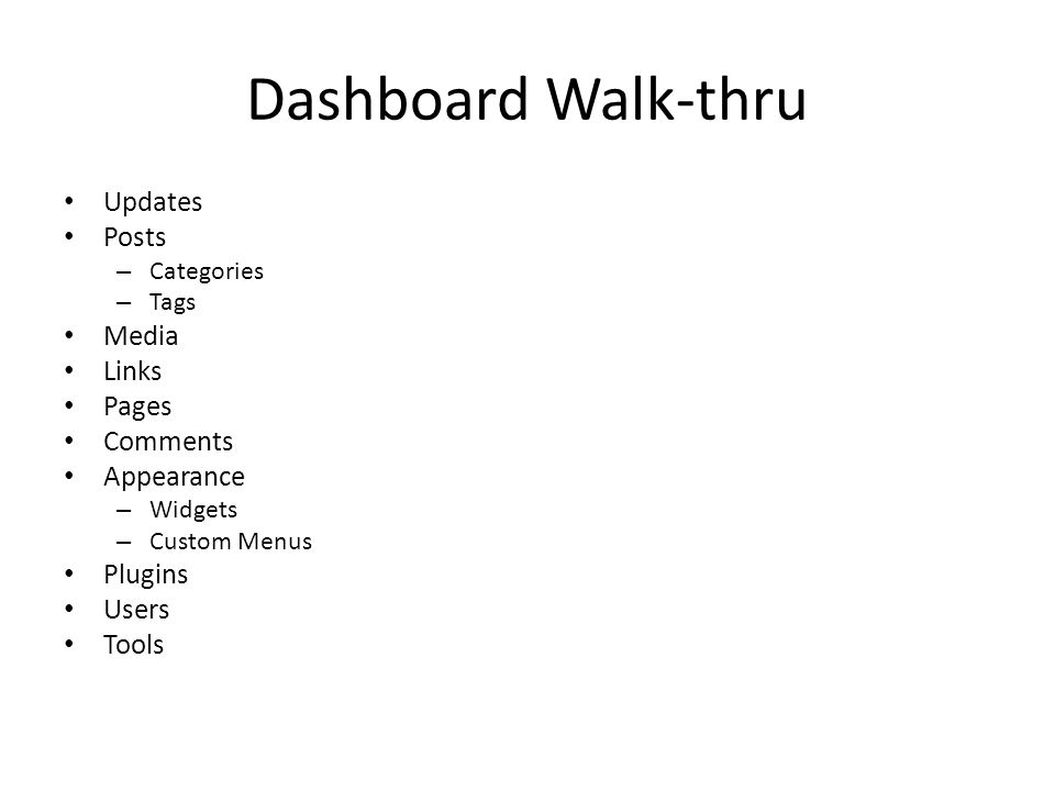 Dashboard Walk-thru Updates Posts – Categories – Tags Media Links Pages Comments Appearance – Widgets – Custom Menus Plugins Users Tools