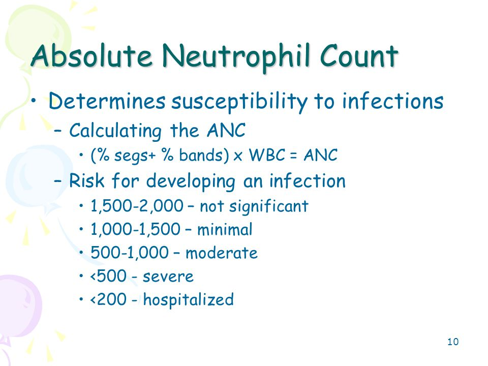 10 Absolute Neutrophil Count Determines susceptibility to infections –Calculating the ANC (% segs+ % bands) x WBC = ANC –Risk for developing an infection 1,500-2,000 – not significant 1,000-1,500 – minimal 500-1,000 – moderate <500 - severe <200 - hospitalized