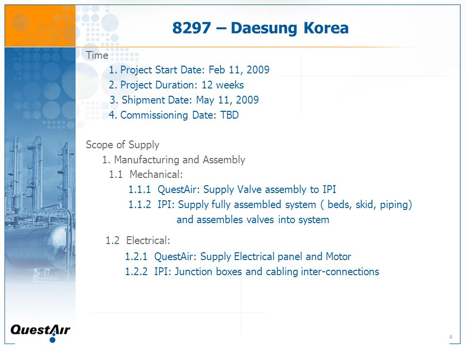4 8297 – Daesung Korea Time 1. Project Start Date: Feb 11, 2009 2.