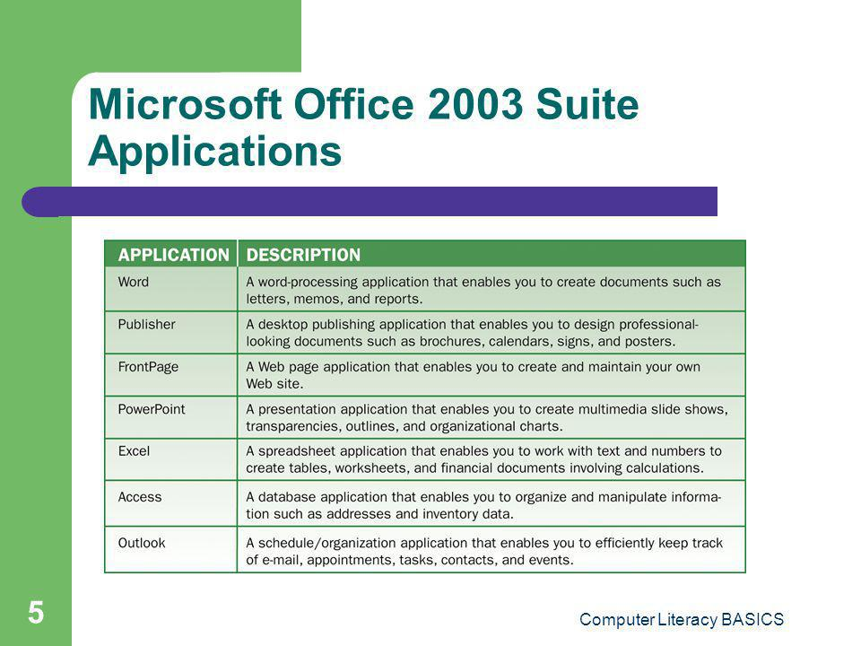 Computer Literacy BASICS 5 Microsoft Office 2003 Suite Applications